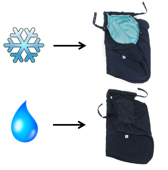 baby carrier cover with liner for snow and without liner for rain