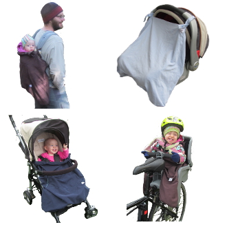 versatile for use with baby carrier, stroller, car seat and bike seat
